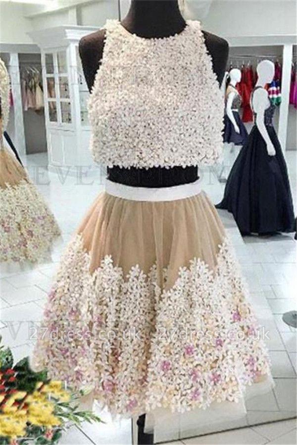 Crystal Lace Appliques Jewel Homecoming Dress UKes UK Two Piece Sleeveless Short Party Dress UKes UK