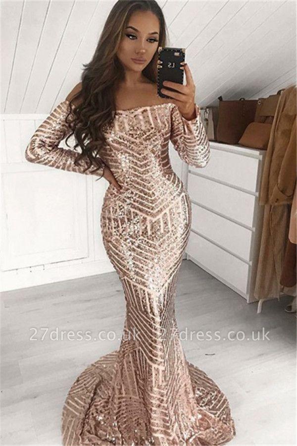Elegant Sequins Off-The-Shoulder Long-Sleeves Elegant Trumpt Prom Dress UKes UK UK
