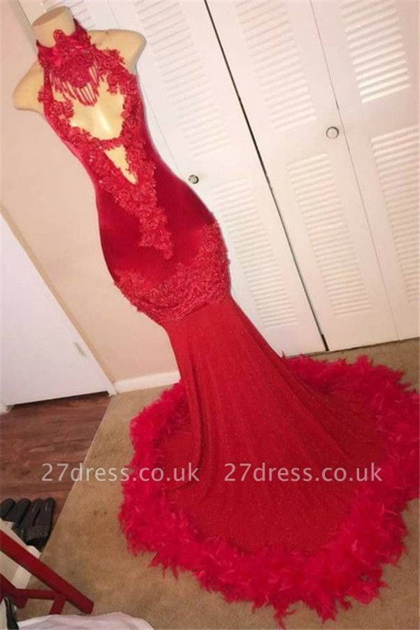Red Halter without Sleeve Feather Applique Elegant Mermaid Evening Dress UK UK