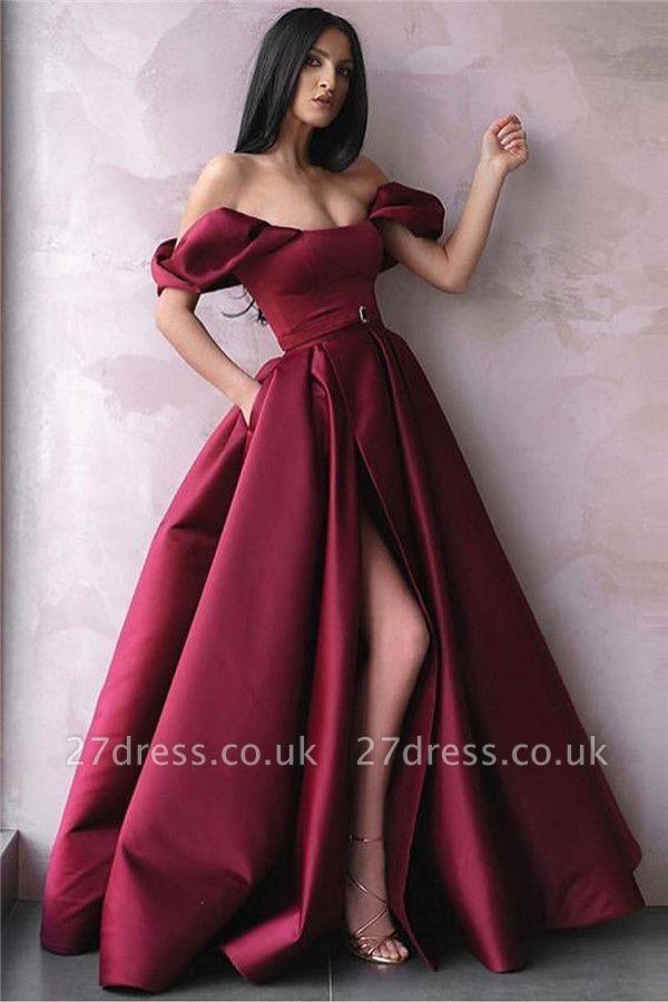 Trendy Burgundy Maroon Off-The-Shoulder Side-Split Princess A-Line Prom Dress UK UK