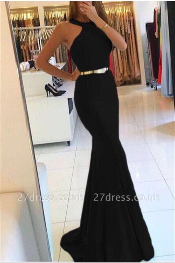 Elegant Mermaid Halter without Sleeve Long Prom Dress UK UKes UK with Sash
