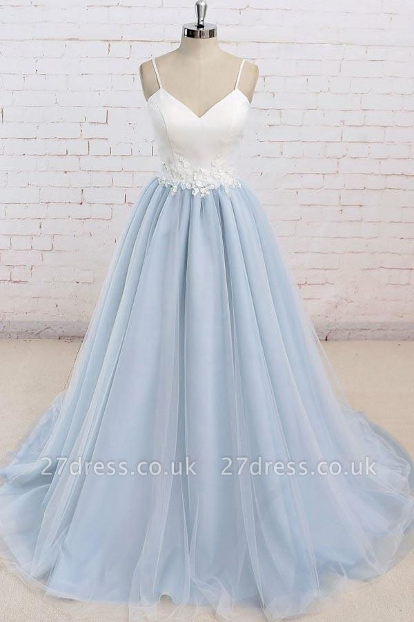 Sexy Spaghetti-Strap Lace Appliques Prom Dress UKes UK A-Line Sleeveless Evening Dress UKes UK
