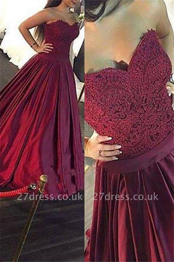 Burgundy Sweetheart Lace Appliques Prom Dress UKes UK Ruffles Sleeveless Evening Dress UKes UK Sexy