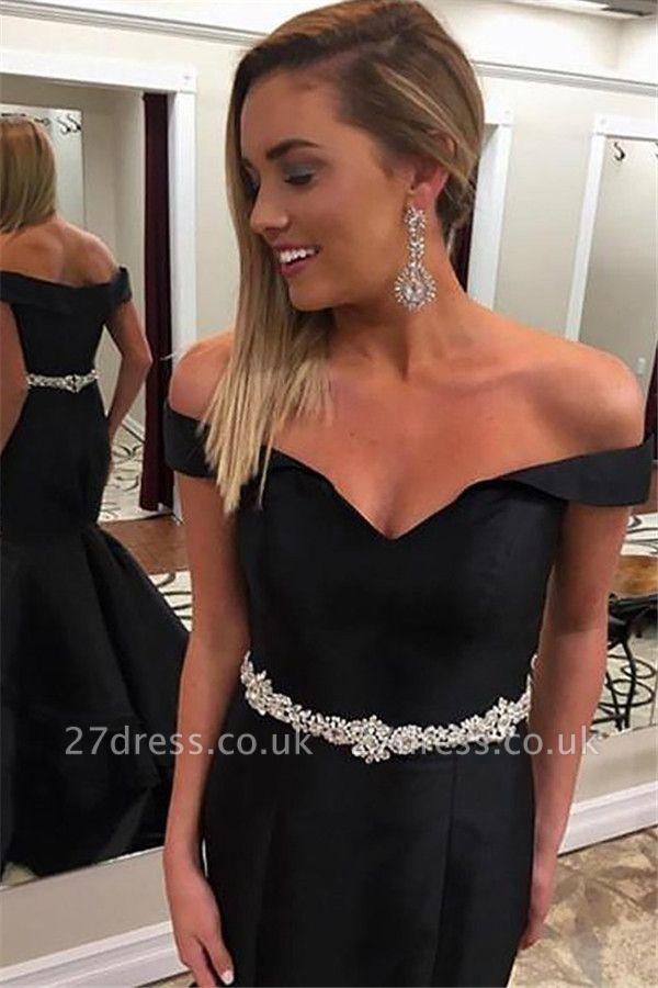 Black Off-the-Shoulder Lace Appliques Prom Dress UKes UK Mermaid Ruffles Sleeveless Evening Dress UKes UK