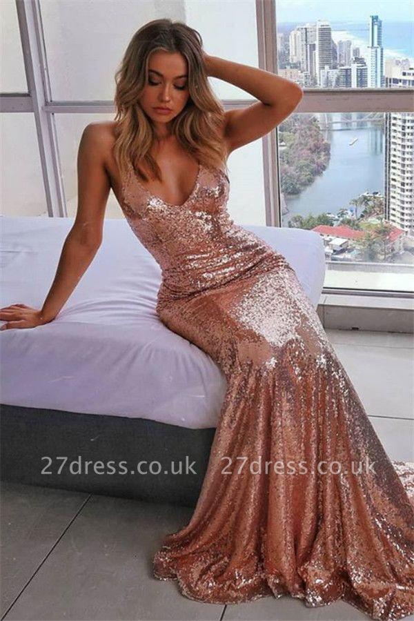 Elegant Spaghetti-Straps Sequins without Sleeve Elegant Mermaid Prom Dress UK UK