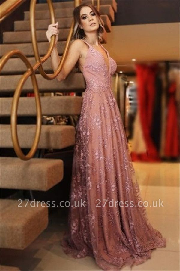 Sexy Pink Lace Appliques Elegant V-Neck Prom Dress UKes UK Backless Sleeveless Evening Dress UKes UK