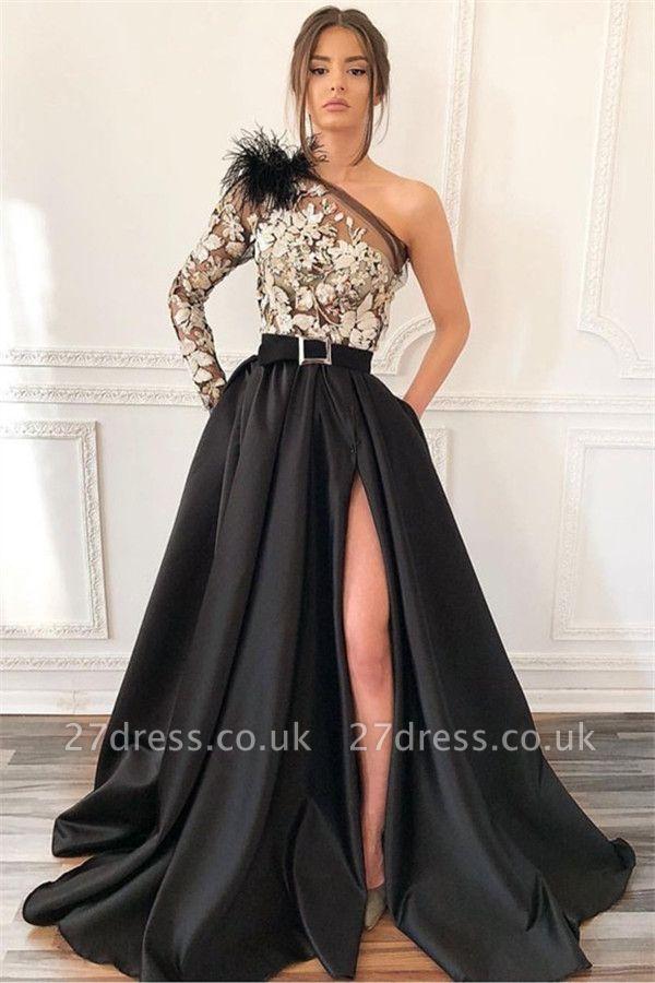 Elegant Blcak Asymmetric Side-Slit Feather Lace Applique Prom Dress UK
