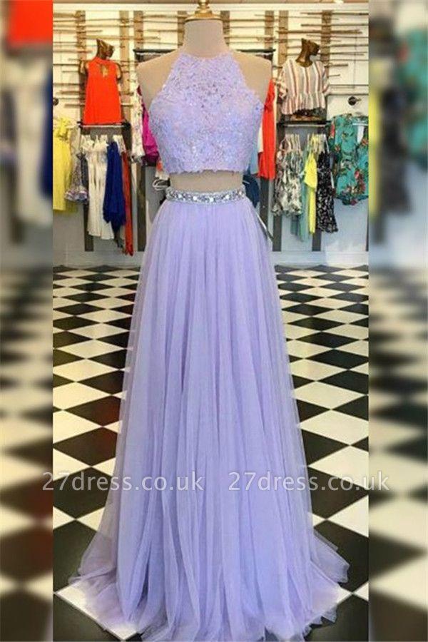 Sexy High Neck Crystal Applique Prom Dress UKes UK Tulle Two Piece Sleeveless Elegant Evening Dress UKes UK