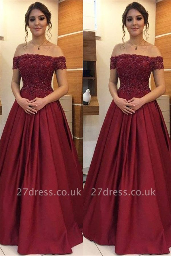 Burgundy Off-the-Shoulder Lace Appliques Prom Dress UKes UK Beads Ruffles Sleeveless Evening Dress UKes UK