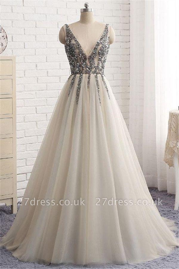 Sexy Elegant V-Neck Crystal Lace Appliques Prom Dress UKes UK Side slit Backless Sleeveless Evening Dress UKes UK