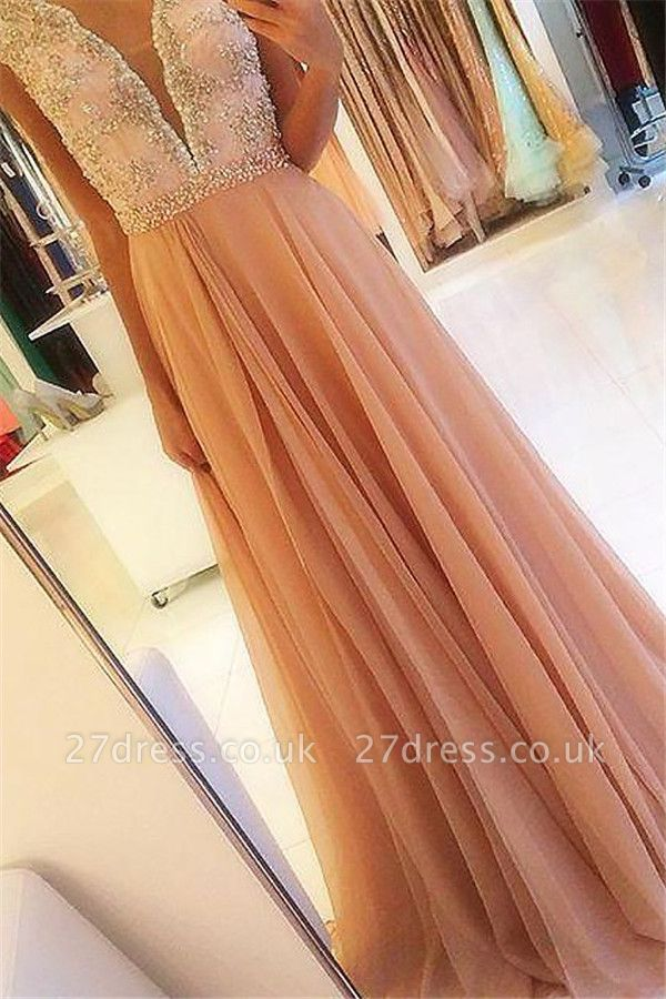 Sexy Open Back Lace Appliques Prom Dress UKes UK Tulle Sexy Evening Dress UKes UK with Crystal