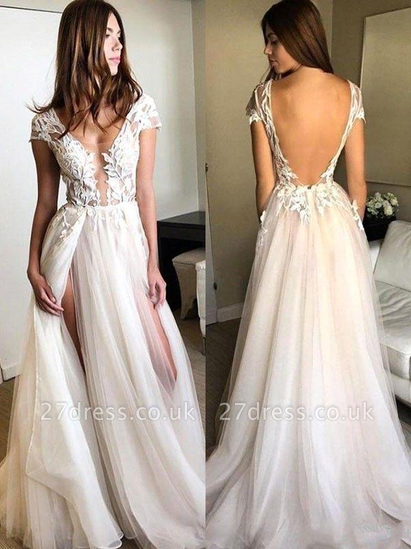 Sexy Pink Elegant V-Neck Prom Dress UKes UK Sleeveless Elegant Evening Dress UKes UK with Beads