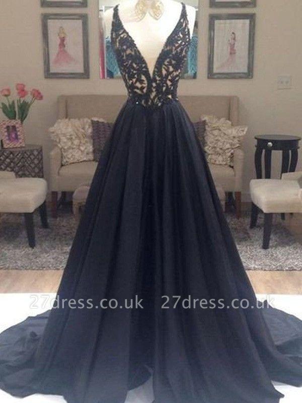 Black Lace Elegant V-Neck Sleeveless Prom Dress UKes UK Open Back Evening Dress UKes UK with Beads