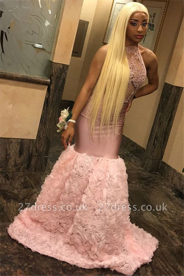 Pink Halter Lace Appliques Flower Prom Dress UKes UK Mermaid Lace Sleeveless Evening Dress UKes UK