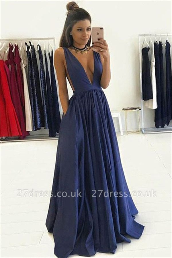 Elegant V-Neck Sleeveless Prom Dress UKes UK Ruffles Sexy Evening Dress UKes UK with Pocket