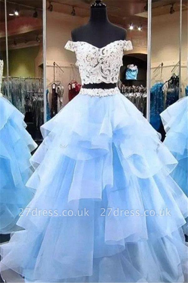Sexy Lace Appliques Off-the-Shoulder Prom Dress UKes UK Two Piece Sheer Sleeveless Evening Dress UKes UK