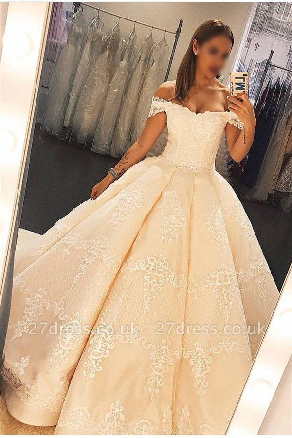 Lace Appliques Off-the-Shoulder Prom Dress UKes UK Ruffles Ball Gown Sleeveless Evening Dress UKes UK