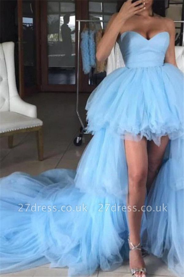 Sweetheart Overskirt Tired Prom Dress UKes UK Hi-Lo Sheer Sleeveless Evening Dress UKes UK