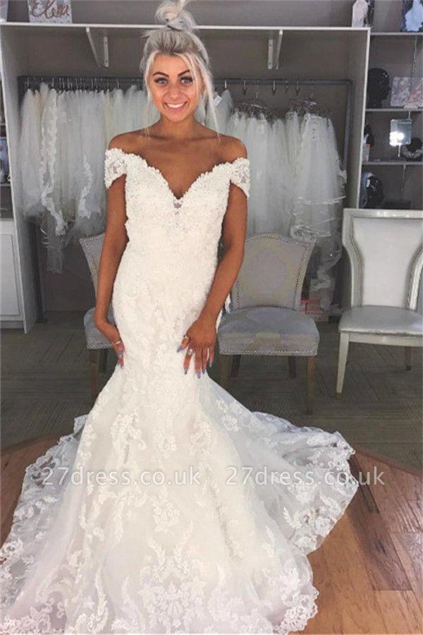 Elegant Appliques Off-the-Shoulder Wedding Dresses UK | Sheer Sleeveless Floral Bridal Gowns