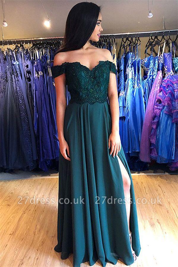 Sexy Off-the-Shoulder Lace Appliques Prom Dress UKes UK Side Slit Sleeveless Evening Dress UKes UK with Beads