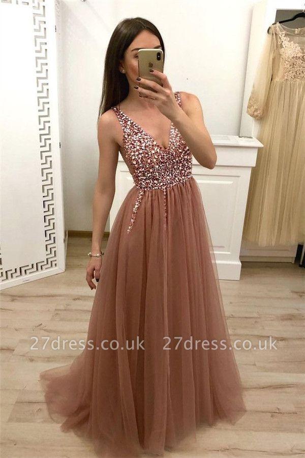 Crystal Straps Sequin Prom Dress UKes UK Lace-Up Side slit Mermaid Sleeveless Evening Dress UKes UK