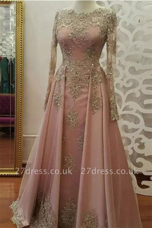 Sexy Lace Appliques Crystal Jewel Prom Dress UKes UK Side slit Longsleeves Evening Dress UKes UK with Beads