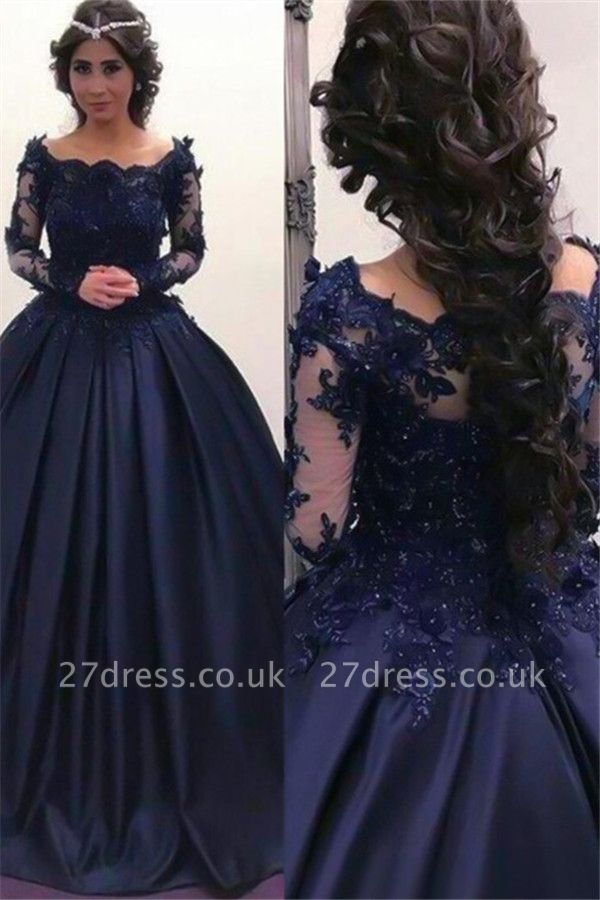 Lace Lace Appliques Bateau Long Sleeves Prom Dress UKes UK Ball Gown Evening Dress UKes UK with Beads