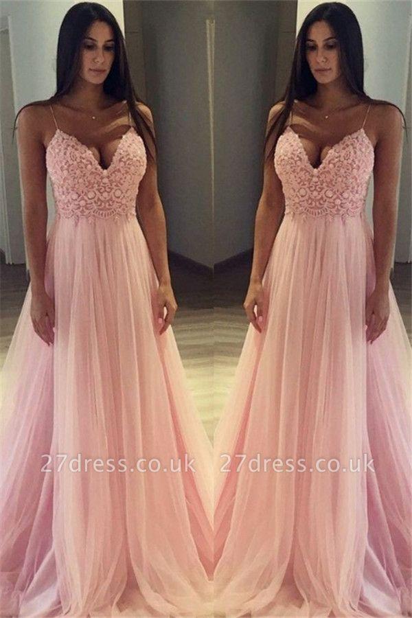 Pink Spaghetti Strap Applique Prom Dress UKes UK Sleeveless Tulle Sexy Elegant Evening Dress UKes UK