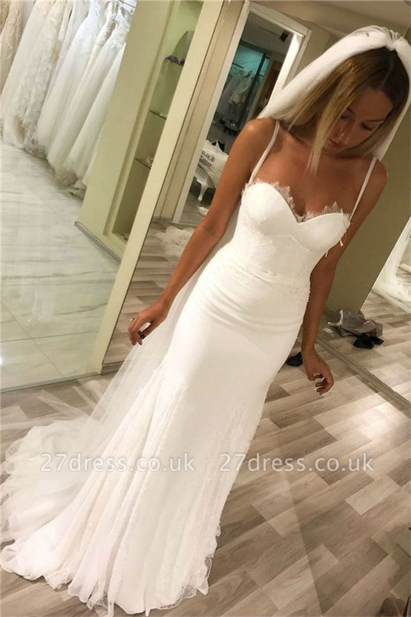 Spaghetti-Strap Appliques Wedding Dresses UK   Rubbons Sheer Sleeveless Floral Bridal Gowns