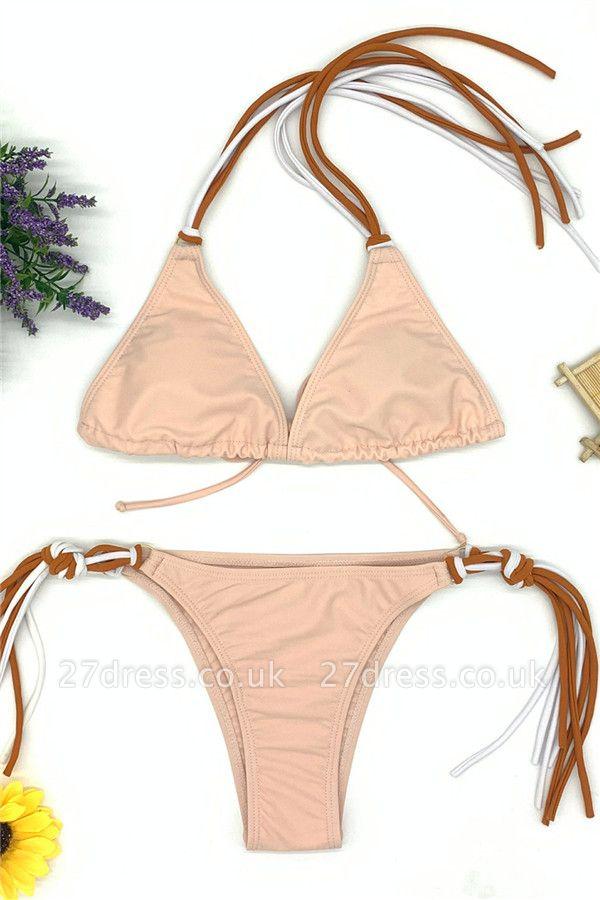 Triangle Pads Halter Straps Multicolor Two-piece Bikini Sets
