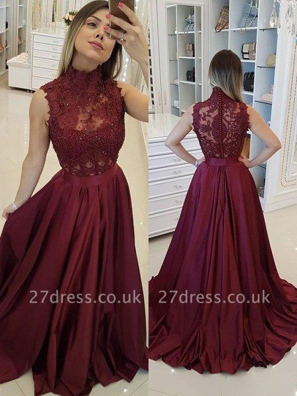 Burgundy High Neck Applique Prom Dress UKes UK Sleeveless Beads Elegant Evening Dress UKes UK with Sash