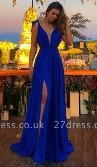 Sexy Royal Blue Prom Dress UKes UK Sexy Spaghetti Strap Side-Slit Sleeveless Elegant Evening Dress UKes UK