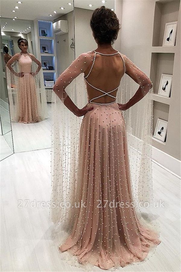 Simple Sexy Pink Sheer-Tulle Open back Beading A-Line Prom Dress UK UK
