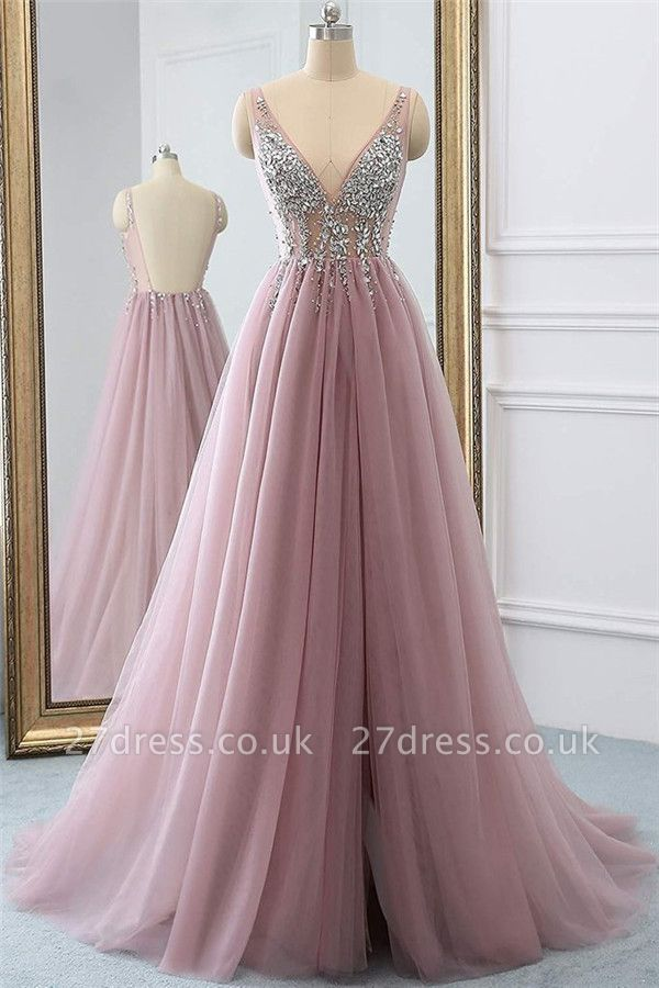 Pink Elegant V-Neck Lace Appliques Crystal Prom Dress UKes UK Sheer Side slit Backless Sleeveless Evening Dress UKes UK