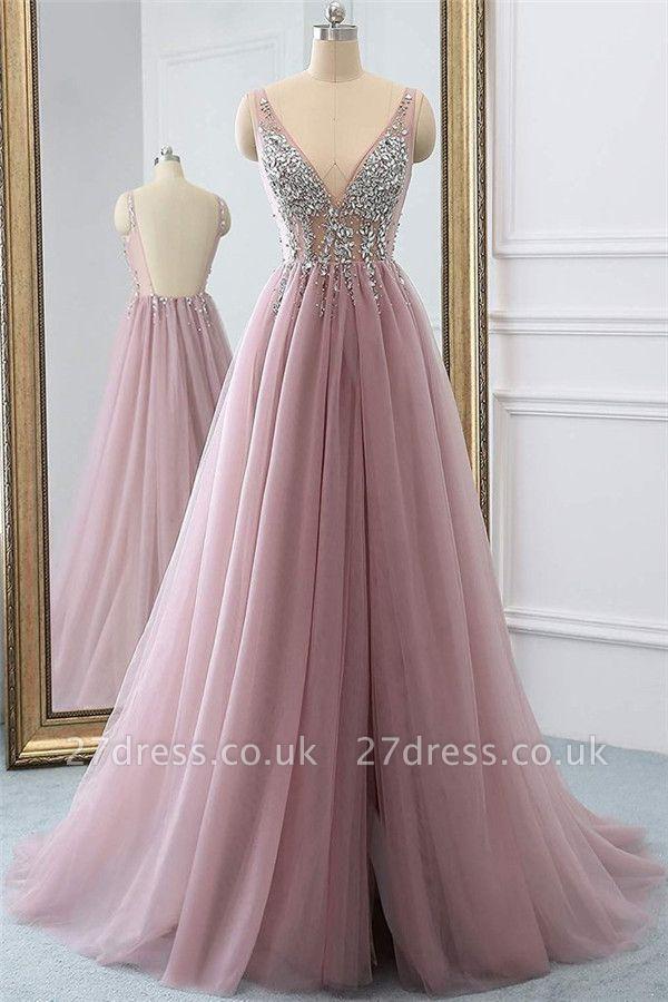 Pink Elegant V-Neck Lace Appliques Crystal Prom Dress UKes UK Sheer Side slit Backless Sleeveless Evening Dress UKes UK