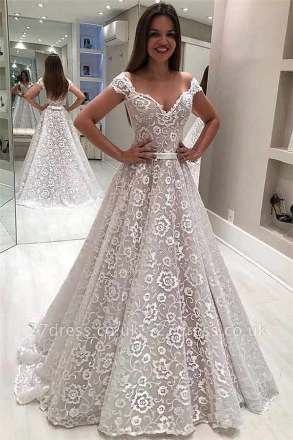 Gorgeous Lace Off-the-Shoulder Wedding Dresses UK Ruffles Pearls Sleeveless Floral Bridal Gowns