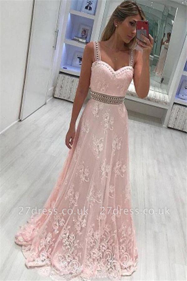 Pink Lace Straps Crystal Prom Dress UKes UK Sleeveless Elegant Evening Dress UKes UK with Sash