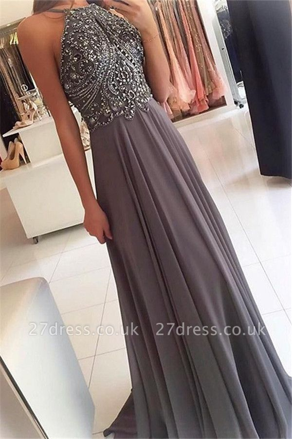 Sexy Halter Lace Appliques Crystal Prom Dress UKes UK Sleeveless Sexy Evening Dress UKes UK with Beads