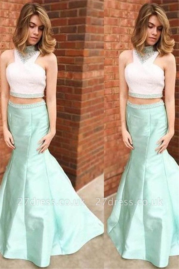 Sexy Halter Crystal Mermaid Prom Dress UKes UK Two Piece Ruffles Sleeveless Evening Dress UKes UK