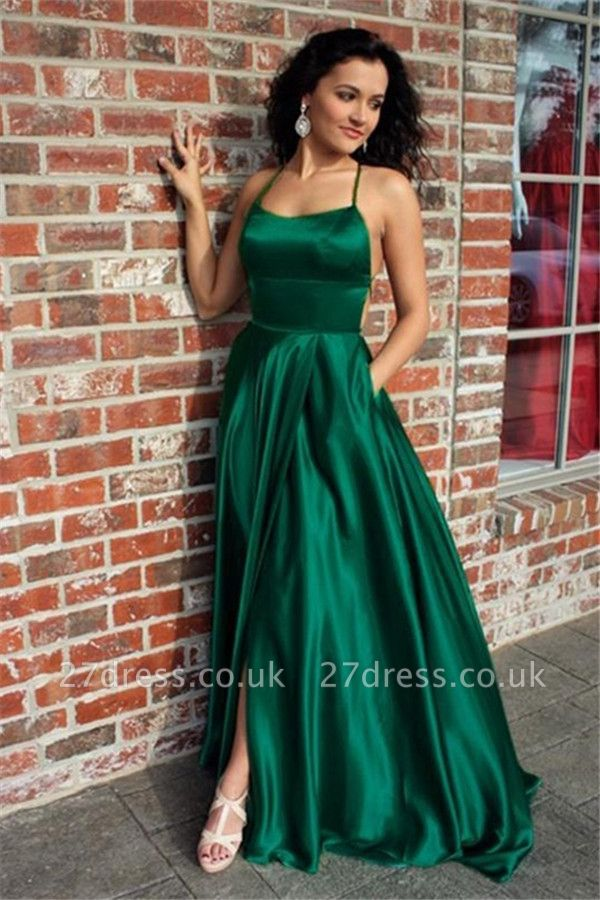 Green Lace Up Halter Prom Dress UKes UK Front Slit Sexy Evening Dress UKes UK with Package
