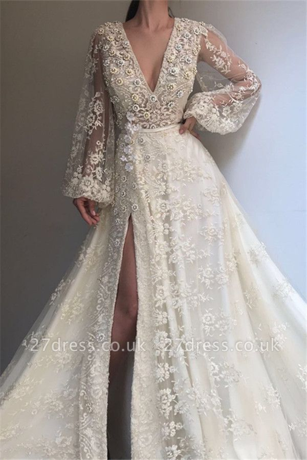 Chic V-Neck Side Slit Long Sleeve Evening Dresses | Lace Applique A-line Prom Dress UK