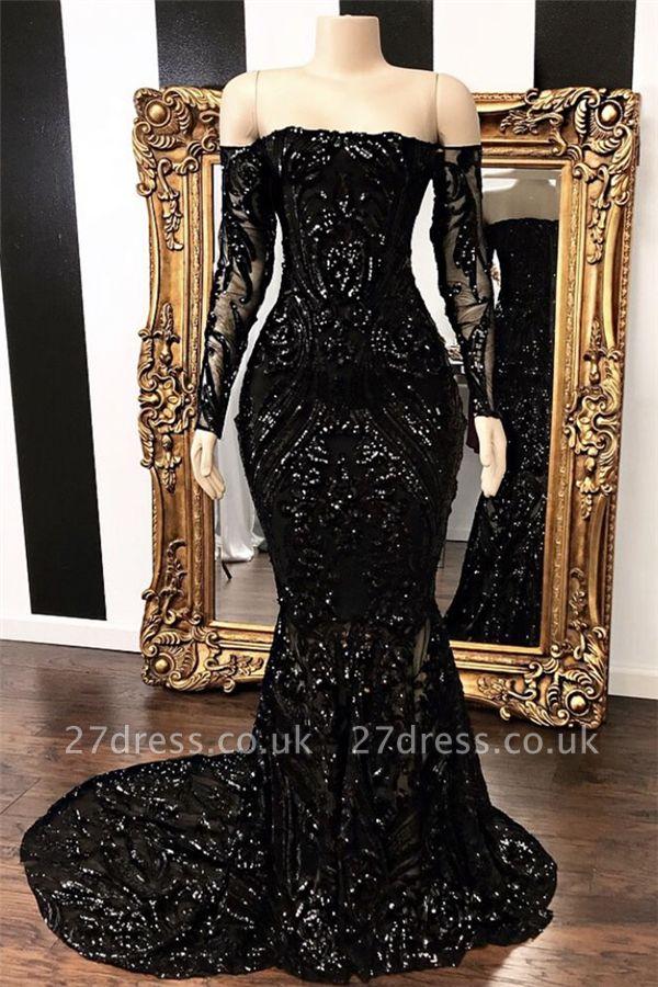 Off-the-shoulder Long Sleeves Elegant Mermaid Sweep Train Prom Dress UK UKes UK