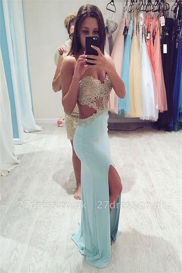 Crystal Weetheart Lace Appliques Prom Dress UKes UK Side slit Mermaid Sleeveless Evening Dress UKes UK