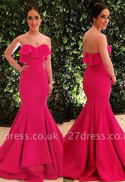 Gorgeous Strapless Ruffle without Sleeve Long Elegant Mermaid Prom Dress UK UK