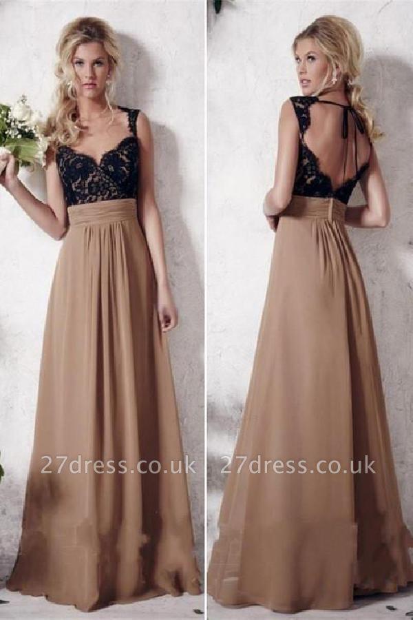Sexy Lace Appliques Straps Prom Dress UKes UKSimple Backless Sleeveless Evening Dress UKes UK