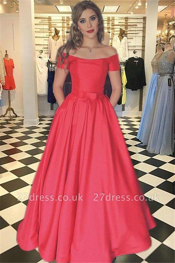 Sexy Red Prom Dress UKes UK Bateau Off-the-Shoulder Elegant Evening Dress UK with Sash