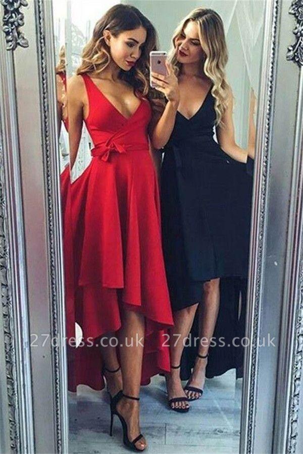 Sexy Bowknot Elegant V-Neck Prom Dress UKes UK Hi-Lo Ruffles Sleeveless Evening Dress UKes UK