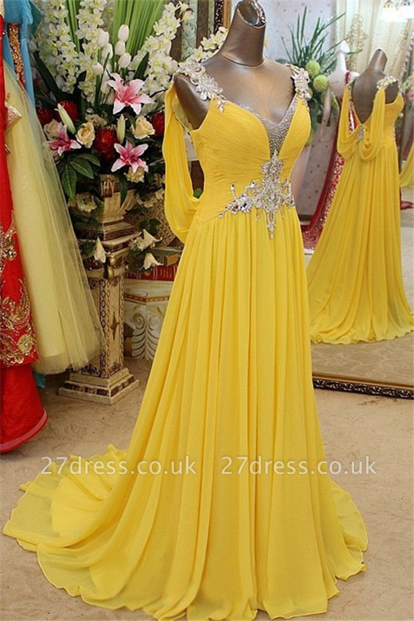 Charming Yellow Spaghetti Strap Open Back Prom Dress UKes UK Sleeveless Lace Appliques Evening Dress UKes UK with Beads