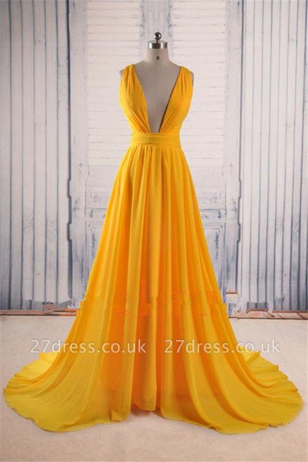Charming Yellow Straps Prom Dress UKes UK Ruffles Sexy Sleeveless Evening Dress UKes UK