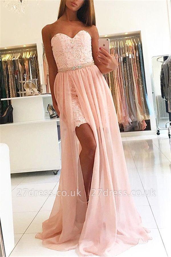 Pink Sweetheart Applique Crystal Prom Dress UKes UK Side Slit Lace Elegant Evening Dress UKes UK Over Skirt with Sash